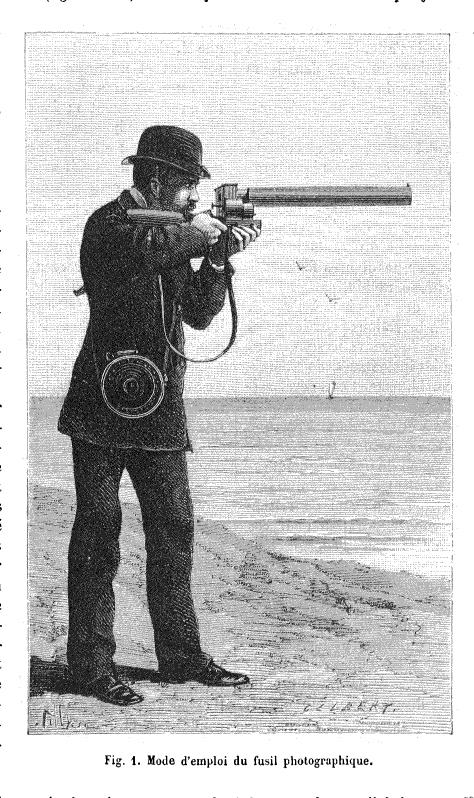 """""""Illustrazione del fucile fotografico tratto dall'articolo """"Le Fusil photograohique"""" di Étienne-Jules Marey apparso sul numero 464 di """"La Nature"""" del 22 aprile 1882."""""""