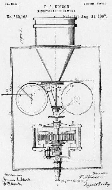 """""""Disegno tecnico raffigurante il kinetografo di Edison e Dickson."""""""