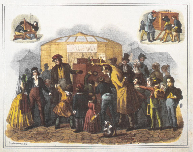 """""""Cromolitografia di F. von Schlotterbeck del 1843 che illustra uno spettacolo di Mondo Nuovo."""""""