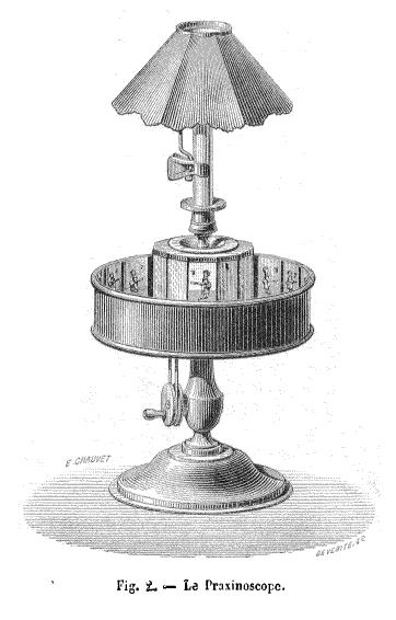 """""""Illustrazione del prassinoscopio di Émile Reynaud apparsa sul numero 296 della rivista La Nature nel 1879."""""""