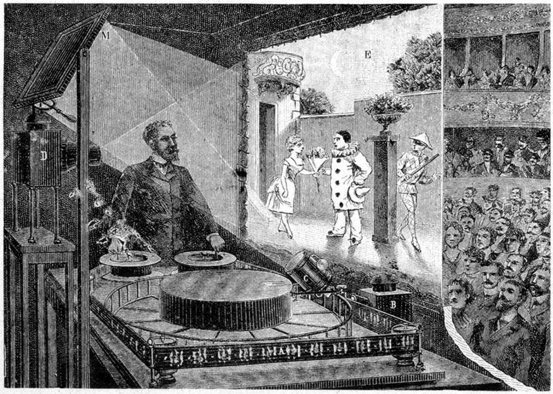 """""""Illustrazione della prima proiezione pubblica effettuata da Émile Reynaud nel 1892 presso il museo Grévin a Parigi. """""""