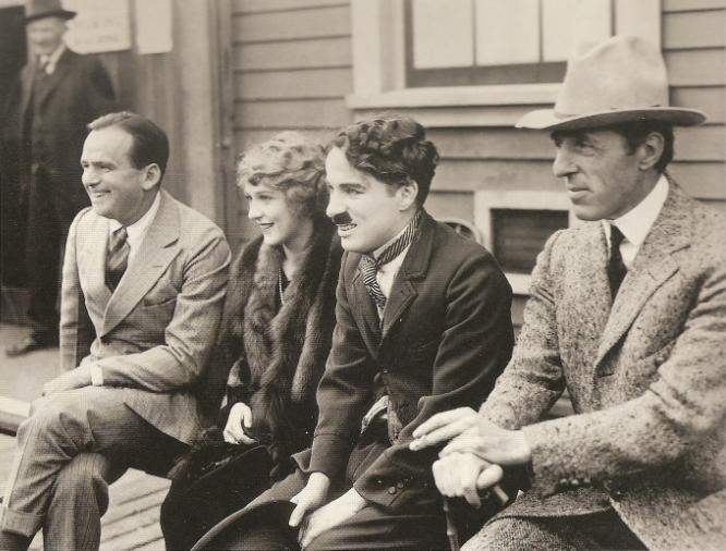 """Douglas Fairbanks, Mary Pickford, Charlie Chaplin, David W. Griffith"""